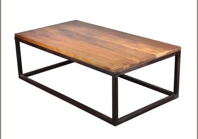 Industrial Iron Mango Wood Long Coffee Table Modern
