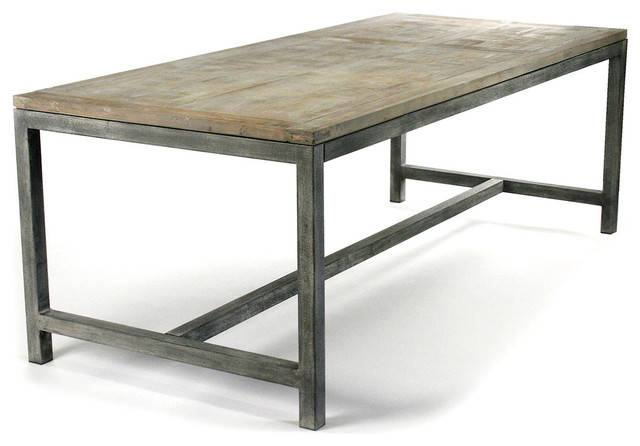 Industrial Modern Rustic Bleached Oak Gray Dining Table