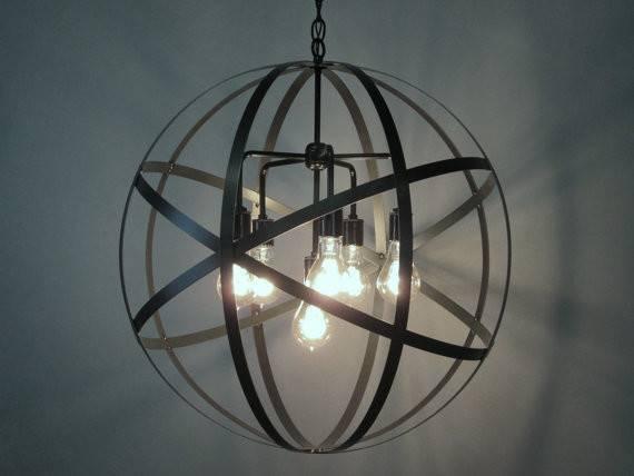 Industrial Orb Chandelier Ceiling Light Sphere Diameter Wine