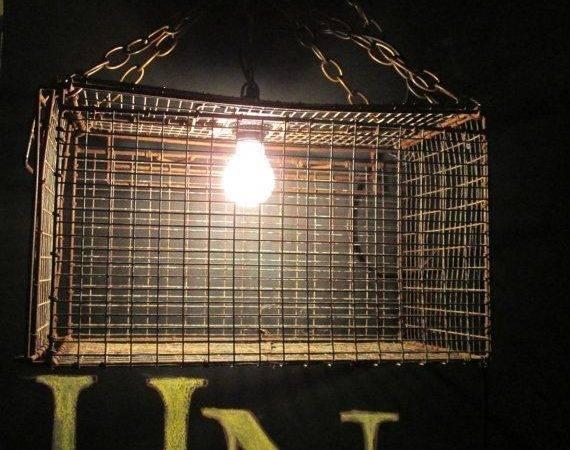 Industrial Repurposed Cage Lighting Hanging Ret