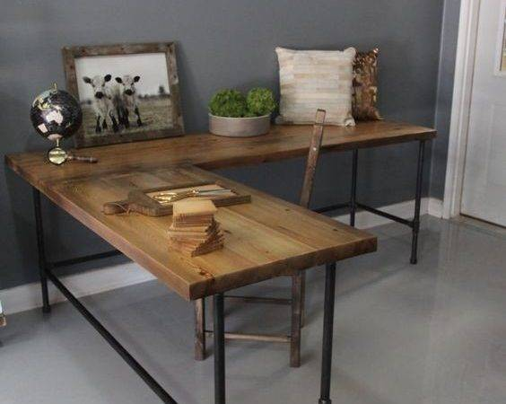 Industrial Shaped Desk Wood Pipe Reclaimed Dendroco