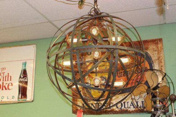 Industrial Sphere Orb Chandelier Metal Strap Globe Hanging Light