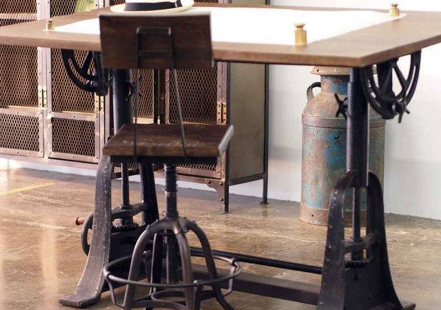 Industrial Style Drafting Desks Eclectic Home Office Los Angeles