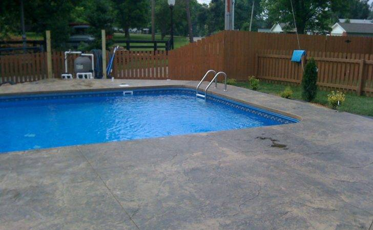 Inground Liner Pool Stamped Concrete Deck Chadehunt
