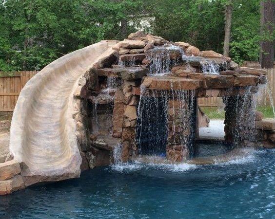 Inground Swimming Pool Slide Grotto Pools Mitchell Custom