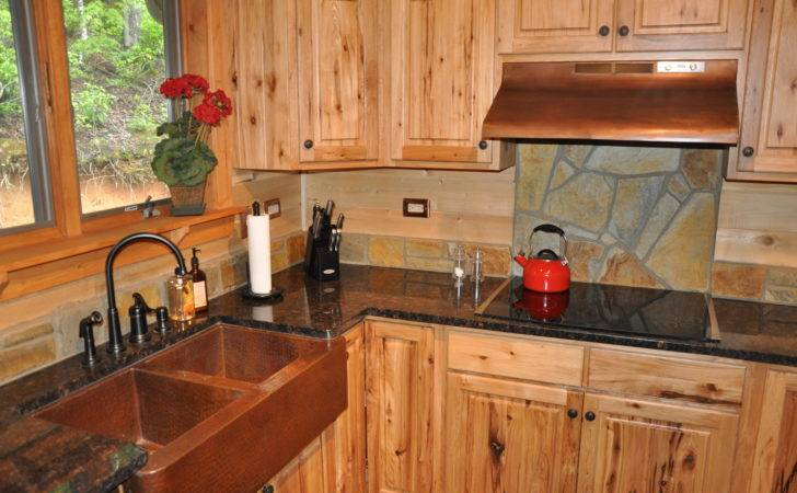 Interesting Stone Backsplash Rustic Kitchen Cabinets Appealing