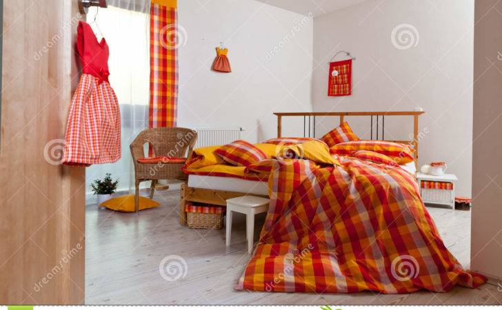 Interior Bedroom Bedding Orange Yellow Red White Colours