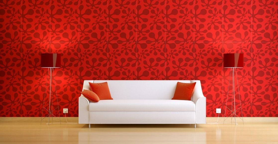 Interior Design White Sofa Red Wall