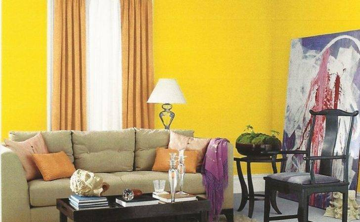 Interior Designs Beautiful Small Space Yellow Paint Color Living