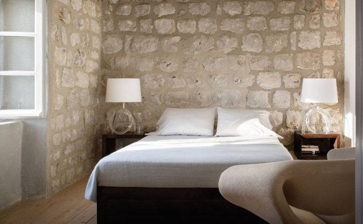 Interior Exposed Limestone Walls White Furniture Home Furnishings
