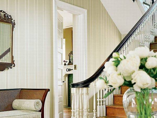 Interior French Country Wooden Stair White Corner Door