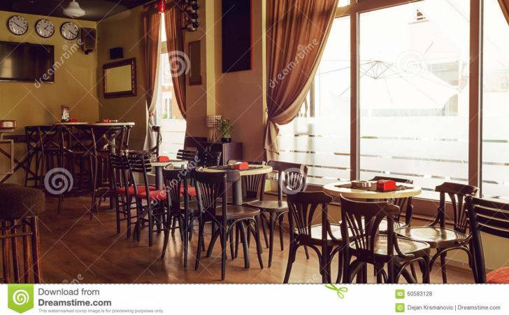 Interior Modern Cafe Retro Style During Day Furniture