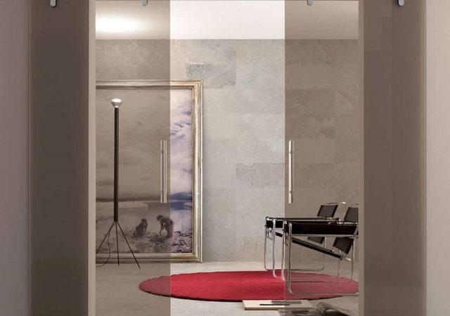 Interior Sliding Glass Door Midcentury Home Office