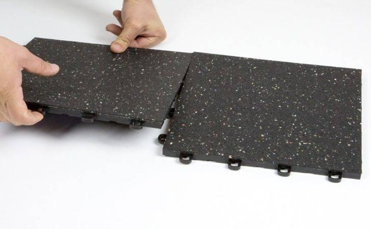 Interlocking Rubber Floor Tiles Black Confetti Flecks