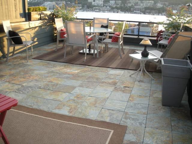 Interlocking Slate Deck Tiles Patio Modern