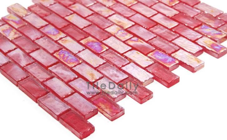 Iridescent Brick Glass Mosaic Red Tiledaily
