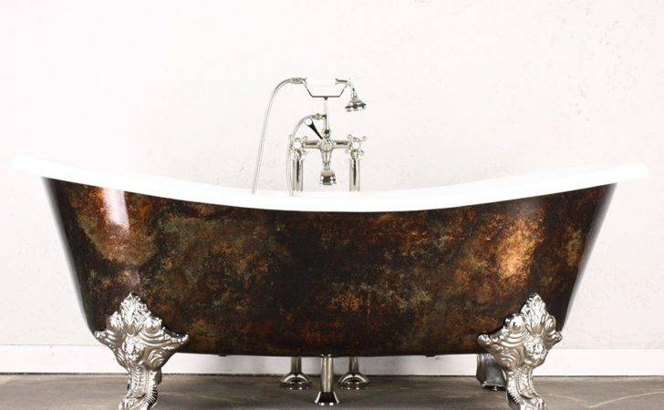 Iron French Bateau Bath Tub Aged Copper Exterior Plus Accessories