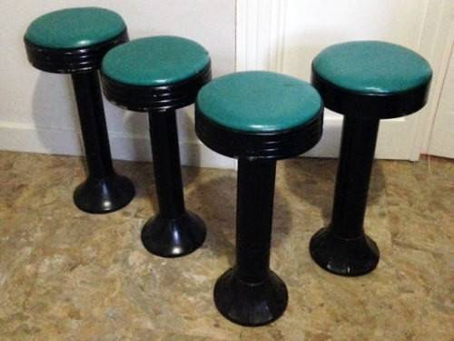 Iron Soda Fountain Bar Stool Metal Stools Vintage Set Four