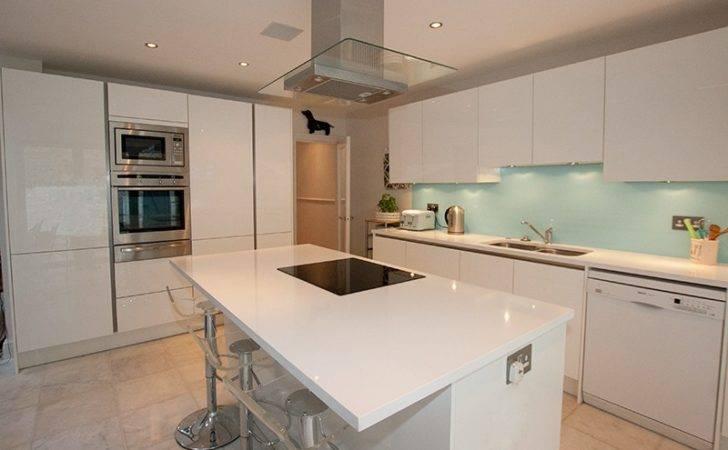 Island Kitchen Finish White High Gloss Lacquer Layout