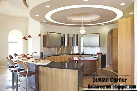 Italian Kitchen Round Design Modern Pop Ceiling