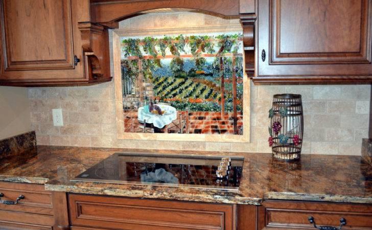 Italian Vineyard Theme Fused Glass Kitchen Backsplash Designer