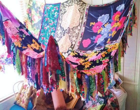 Items Similar Boho Gypsy Bed Canopy Rose Wedding Hippy Vtg Scarves