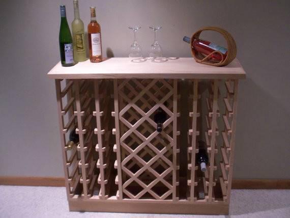 Items Similar Bottle Lattice Style Oak Wine Rack Etsy