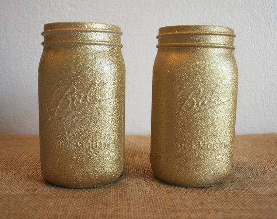 Items Similar Gold Glitter Mason Jars Home Decor Dorm