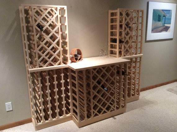 Items Similar Lattice Combination Wood Wine Rack Etsy