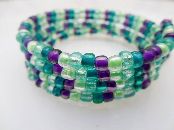 Items Similar Seafoam Green Purple Memory Wire
