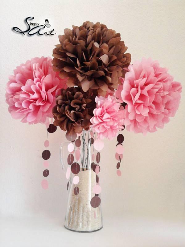Items Similar Tissue Paper Flowers Stems Floral Arrangement