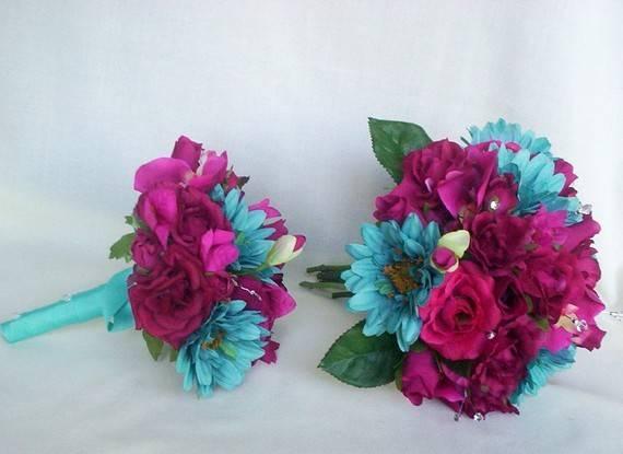 Items Similar Turquoise Fuschia Bridal Bouquet Piece Package