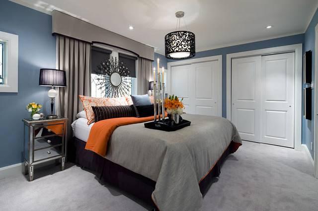 Jane Lockhart Blue Gray Orange Bedroom Contemporary