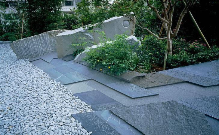 Japanese Style Garden Blue Slate Paving Gravel Japan