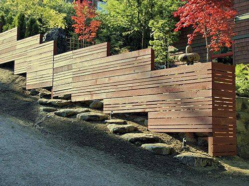 Japanese Style Wooden Fence Mid Century Modern Landscaping Ideas
