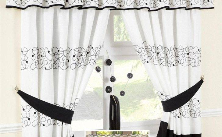Jazz Black Retro Swirl Voile Cafe Curtain Panel