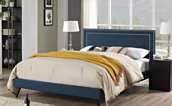 Jessamine Fabric Platform Bed Round Splayed Legs Azure