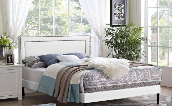 Jessamine White Vinyl Platform Bed Round Tapered Legs Eei