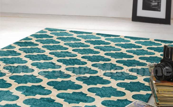 Juno Teal Blue Beige Modern Moroccan Tile Trendy Floor Rug