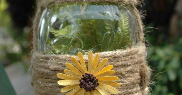 Jute Hanger Mason Jar Wrapped Pineknobsandcrickets