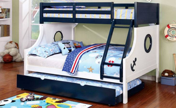 Kids Anchor Twin Over Bunk Bed Boat Circle Window Trundle Ebay