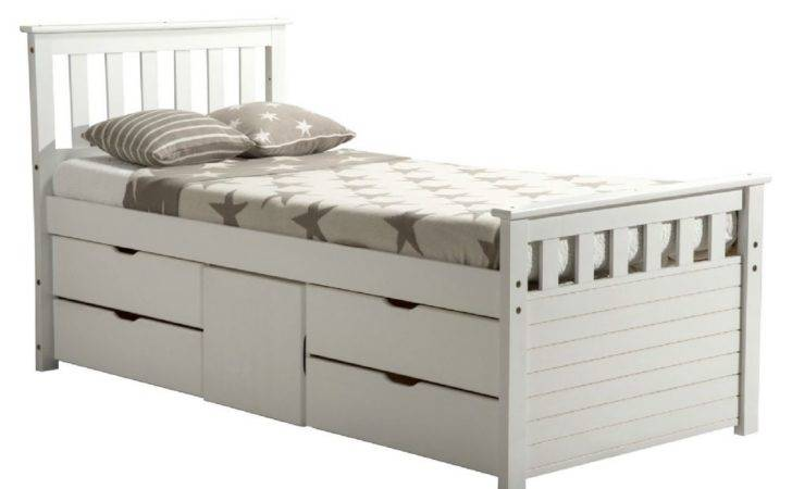 Kids Beds White Wash Pine Single Captains Bed Cupboard