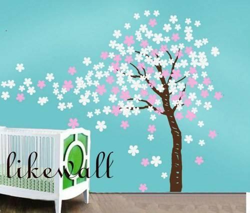 Kids Wall Art Pink White Girl Decor Cherry Blossom Tree