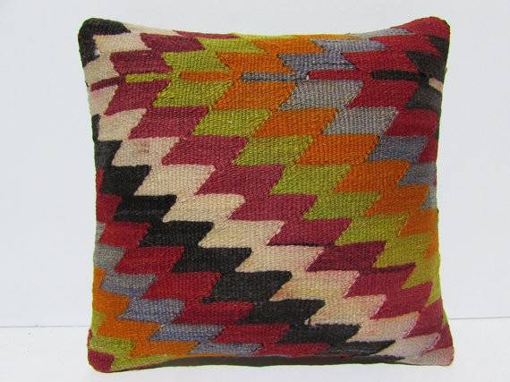 Kilim Pillow Moroccan Floor Cushions Unique Throw Western