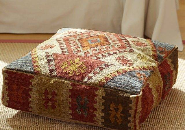 Kilim Recycled Yarn Floor Pillow Mediterranean Pillows