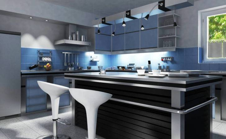 Kitchen Awash Blue Silver Tones Anchored Large Black