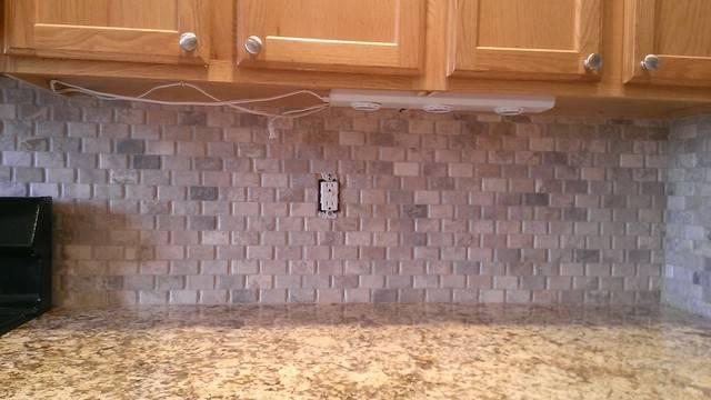 Kitchen Backsplash Basket Weave Stone Grout Traditional