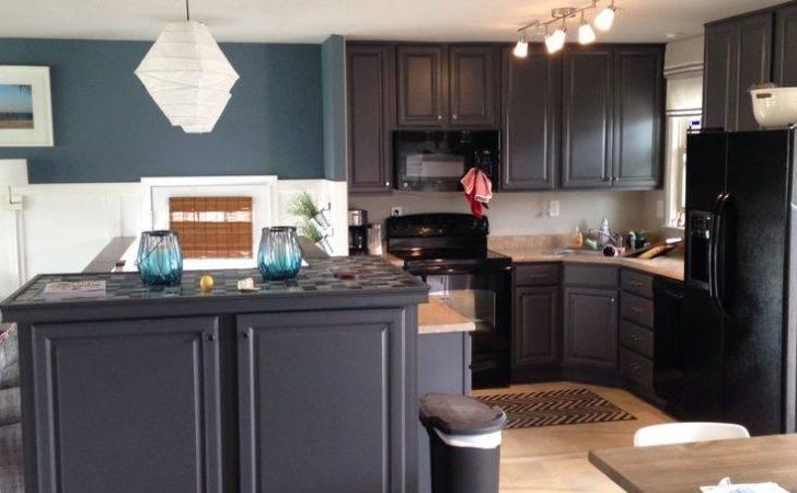 Kitchen Blue Slate Walls Peppercorn Cabinets Sherwin