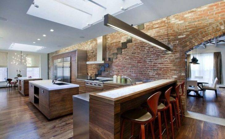 Kitchen Brick Wall Bar Counter Interior Design