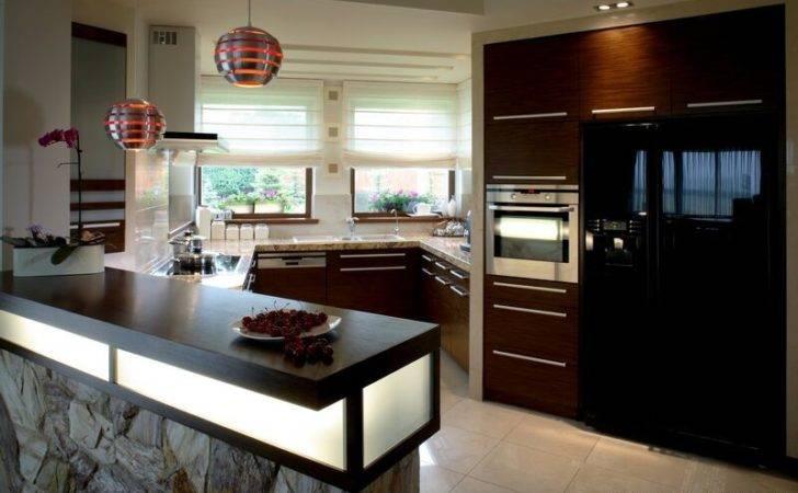 Kitchen Cabinets Modern Dark Wood Luxury Peninsula